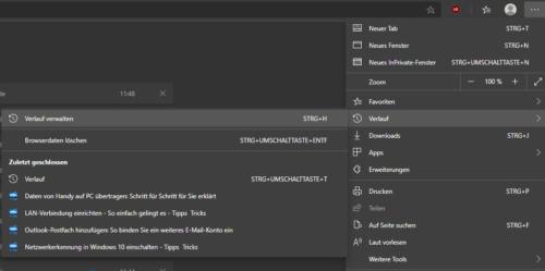 Browserverlauf in Edge Chromium anzeigen