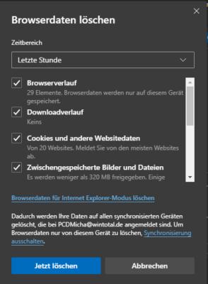 Browserverlauf in Edge löschen