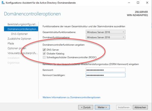 Domänencontroller übernimmt auch DNS-Server