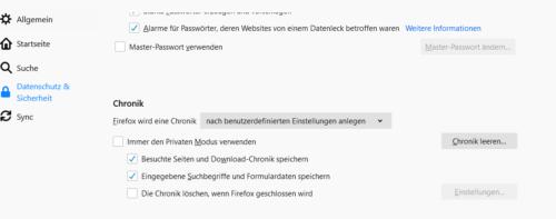 Einstellungen zum Browserverlauf in Firefox