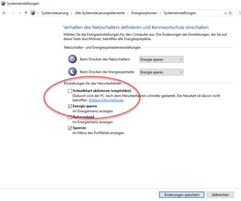 Um Wake on LAN unter Windows 10 zu aktivieren, müssen Sie den Schnellstart abschalten.