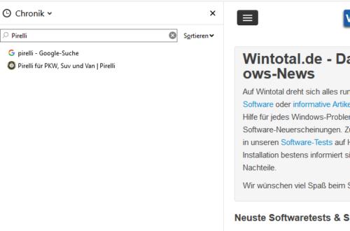 Der Verlauf wird in Firefox über eine Seitenleiste angezeigt.