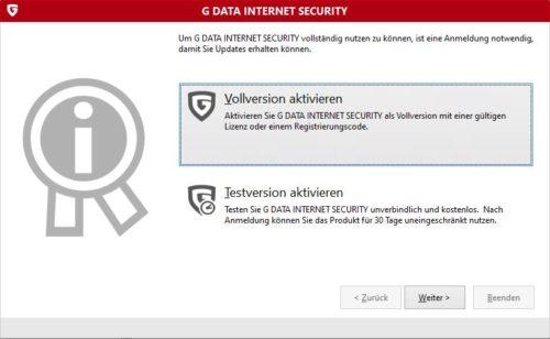 G DATA Internet Security aktivieren