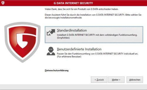G DATA Internet Security Installation unter Windows 10