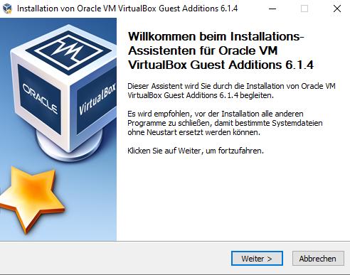 VirtualBox-Gasterweiterung installieren