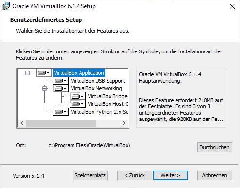 Angepasste Installation von VirtualBox