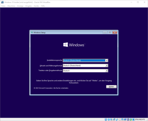 Installation von Windows 10 in der VM