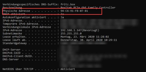 MAC-Adresse vom LAN