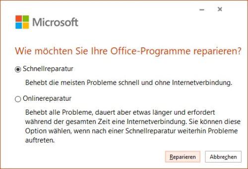 Outlook Suche funktioniert nicht: Optionen der Microsoft Office 365 Reparatur