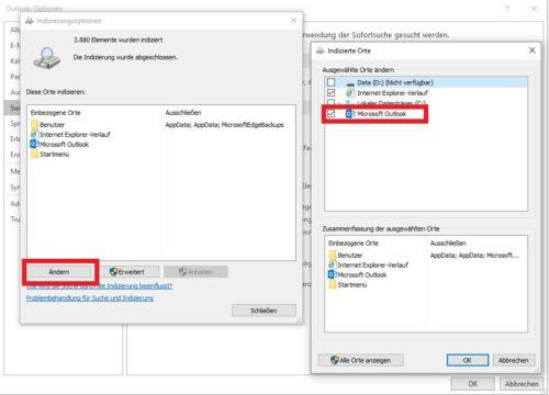 Outlook Suche funktioniert nicht: Indizierte Orte in Outlook 365 ändern