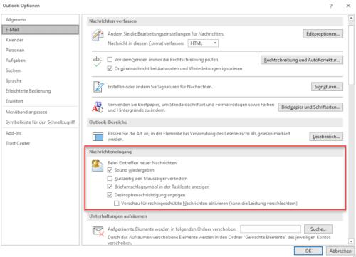 Outlook-Optionen Nachrichteneingang
