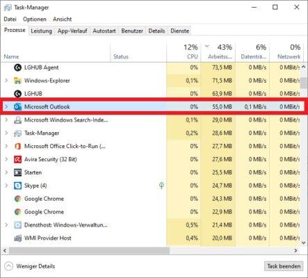 Outlook Suche funktioniert nicht: Outlook-Prozess im Windows 10 Taskmanager