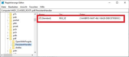 Registry Eintrag für pdf\PersistentHandler