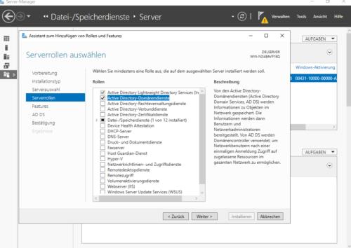 Serverrolle als Domänencontroller hinzufügen