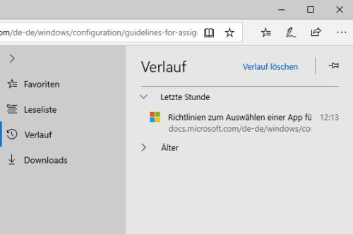 Browserverlauf in Microsoft Edge