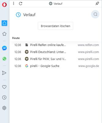 Browserverlauf in Opera