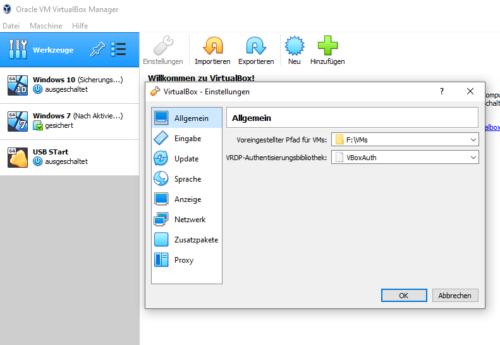 VirtualBox Allgemeine Einstellungen