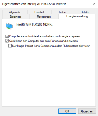 Windows 10 für Wake on LAN konfigurieren