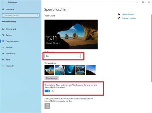 Einstellungen für den Windows Sperrbildschirm