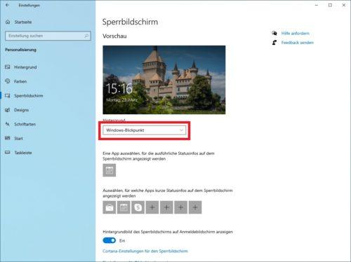 Einstellungen für Windows Blickpunkt (heute)