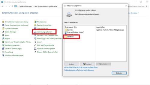 Einstellungen für die Indizierungsoptionen in Windows 10