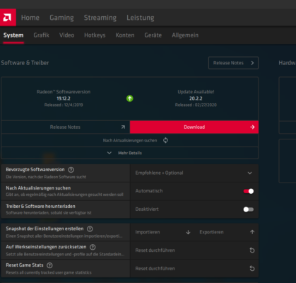 AMD kann auch selbstständig den Grafikkartentreiber aktualisieren