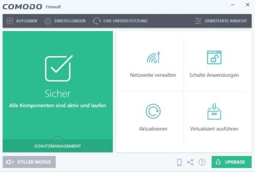 Dashboard der Commodo Firewall unter Windows 10