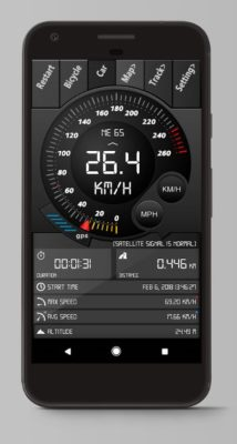 Screenshot der Digital Dashboard GPS Rad App