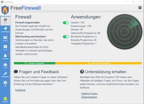 Die kostenlose Evorim FreeFirewall auf deutsch unter Windows 10