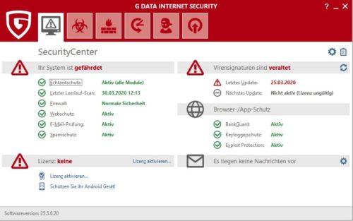 Homescreen der G DATA Internet Security