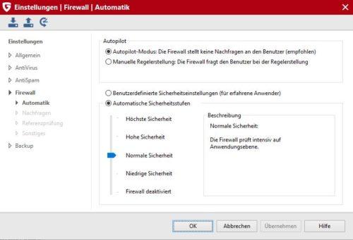 Firewall und Datenschutz Einstellungen von G DATA Internet Security