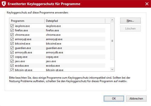 Keyloggerschutz in G DATA Internet Security