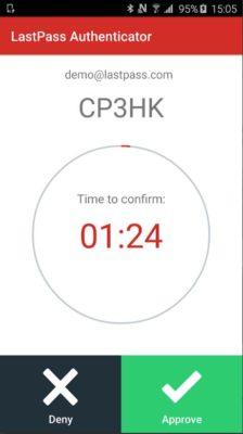 Screenshot der LastPass Authentifizierungs-App