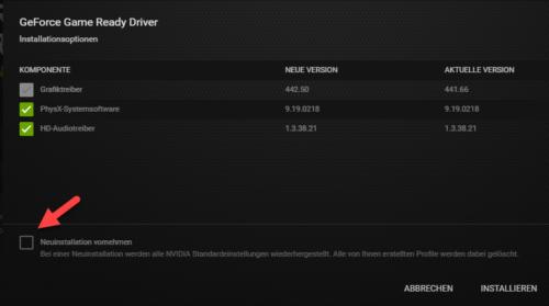 Benutzerdefinierte Installation bei Nvidia