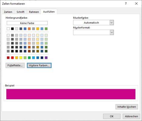 Farbe für die Balken des Gantt Diagramm in Excel festlegen