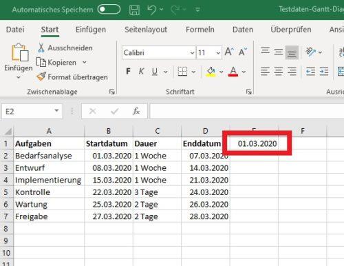 Gantt Diagramm in Excel: Zusätzliche Spalte mit Datum eintragen