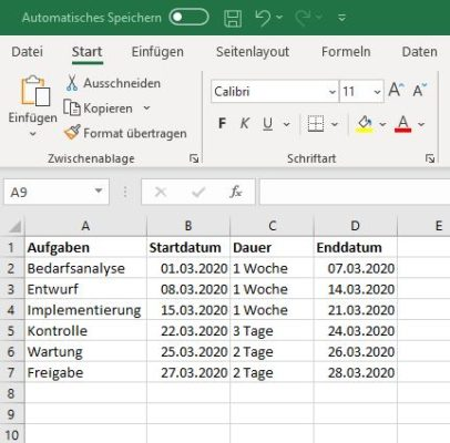 Excel-Tabelle mit Eckdaten zum Projekt