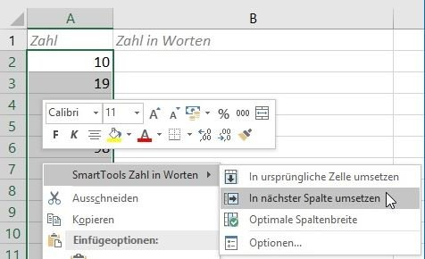 Screenshot des Zahl in Worten Excel Add-Ins