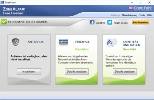 ZoneAlarm Free Firewall deutsch unter Windows 10