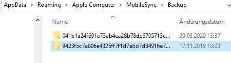 Backuppfad in Appdata von iTunes
