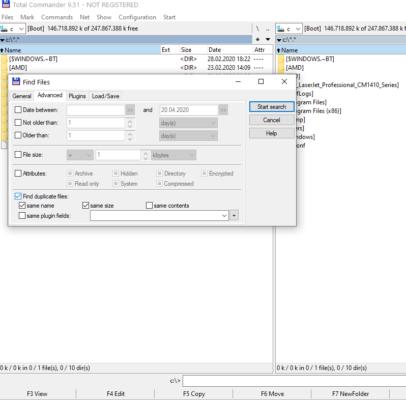 Total Commander kann doppelte Dateien finden