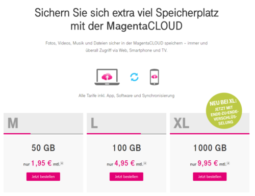 MagentaCloud Preise für Cloud-Backup