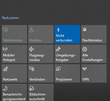 Schnelle Aktionen im Windows 10 Info-Center