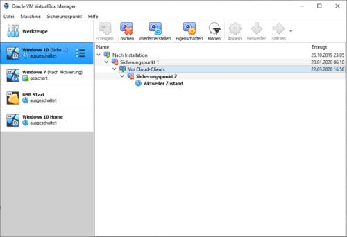 Sicherungspunkte in VirtualBox