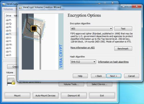 Screenshot der Verschlüsselungssoftware VeraCrypt (Freeware)
