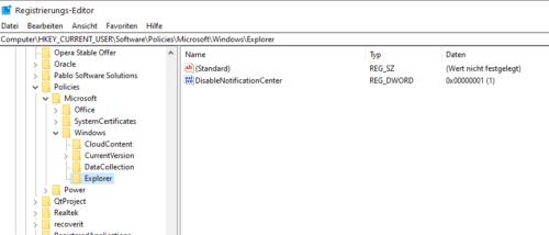 Windows 10 Info-Center über die Registry deaktivieren