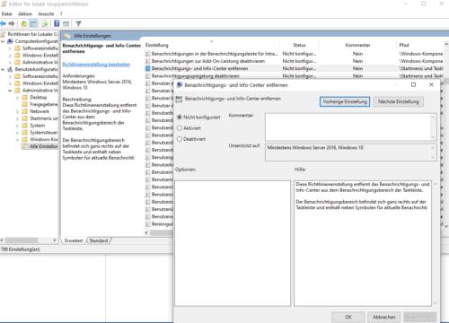 Windows 10 Info-Center über eine Gruppenrichtlinie deaktivieren