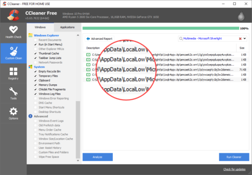 ccleaner bereinigt Appdata in Windows 10