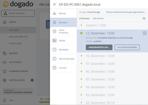 Dogado bietet Cloud-Backup mit der Acronis-Technik