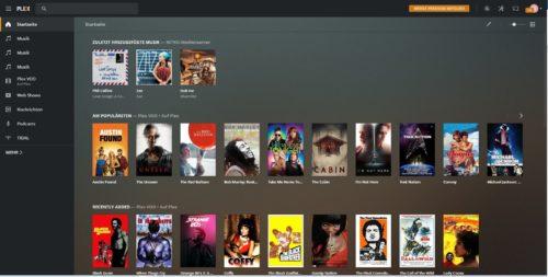 Benutzeroberfläche des Plex Media Server